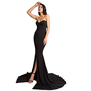 Formal Strapless Evening Dress Long Prom Gown Front Split Full Length Wedding Maxi Dress