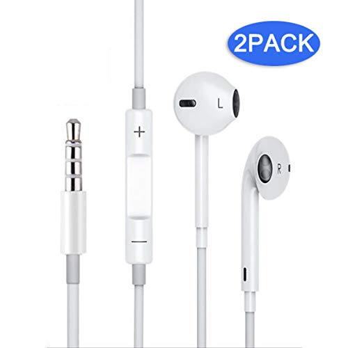 Galasy Earbuds/Headphones/Earphones, 3.5mm Premium in-Ear Wired Earphones with Remote & Mic Compatible Apple iPhone 6s/Plus /6/5s/se/5c/iPad/MP3/MP4/MP5/Samsung and All 3.5mm Devices. (White,2Packs)