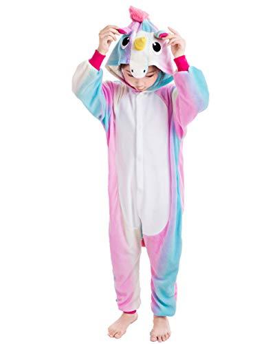 NEWCOSPLAY Unisex Children Unicorn Pyjamas Halloween Costume (10-Height 55-58