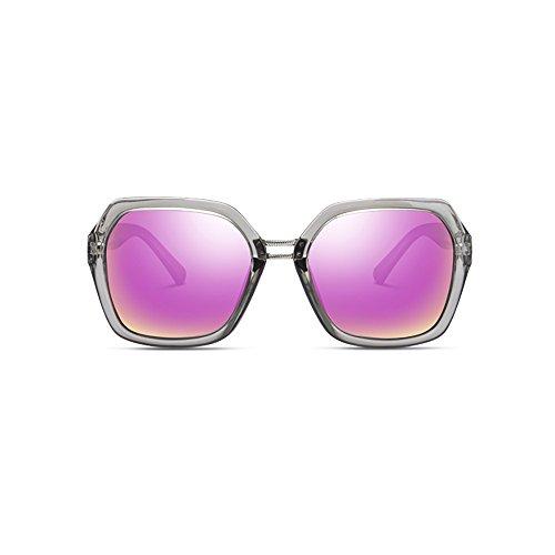 De Anti Polarizadas Color Gray Mujer purple Sol Redonda Gafas Cara La Pink uv 41dx01q