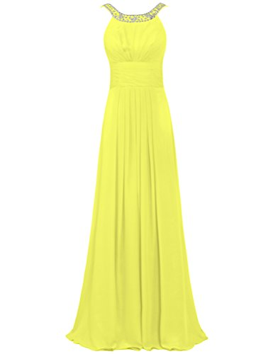 ANTS Women's Bead Boat Neck Chiffon Formal Dresses Long Party Gown Size 26W US Yellow