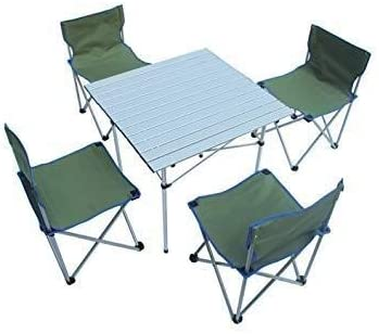Mdbymx Tavolo E Sedia Da Campeggio Pieghevole Portatile Con 4 Sedie Per Picnic Giardino Tavolo E Sedia Da Campeggio Verde Amazon It Casa E Cucina