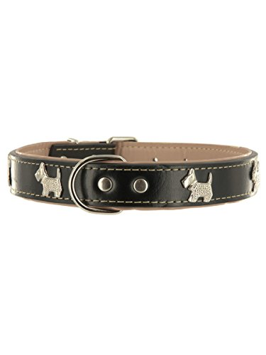 "Kakadu Pet Run Scotty Run Leather Dog Collar by, Large, 1"" x 21 1/2"", Black"