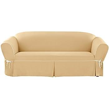 Sure Fit Cotton Duck 1-Piece - Sofa Slipcover - Maize/Natural (SF43597)