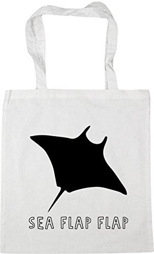 Bag flap 10 White Tote flap litres Beach 42cm Shopping HippoWarehouse stingray Sea x38cm Gym ABx5FPBq8w