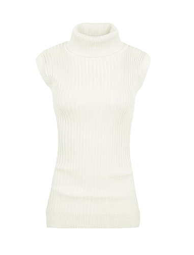 v28 Women Sleeveless High Neck Turtleneck Stretchable Knit Sweater Top-2X,White