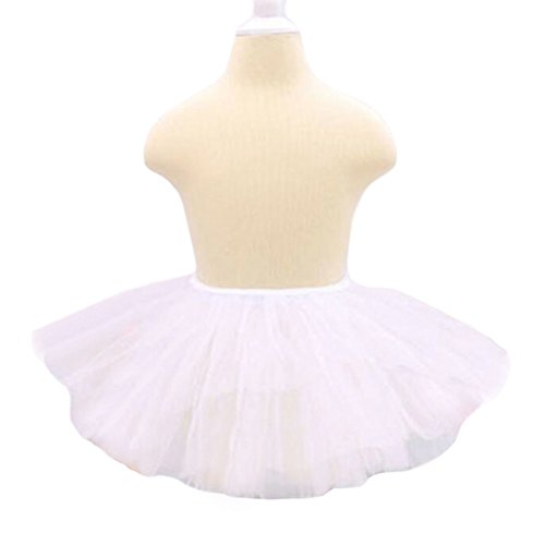 Three Layers Yarn Dance Skirt Kid Swan Lake Costumes Ballet Dress-White (Swan Ballet Costume)