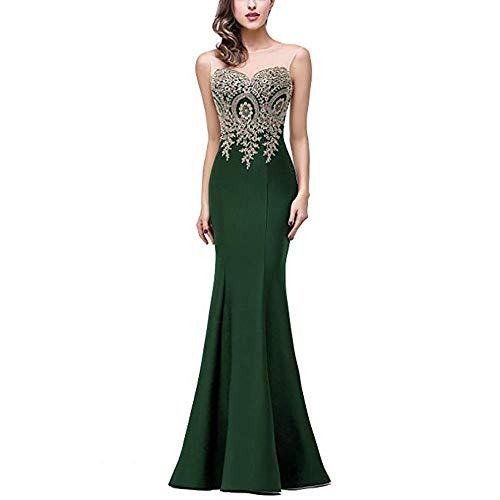 Maxi color Evening Auming Women For Encaje Dama Apliques Mermaid Honor Vestido Baile Dress Red Size De Mangas Largos S Green Formal Vestidos Cuello Sin xwXqprXH