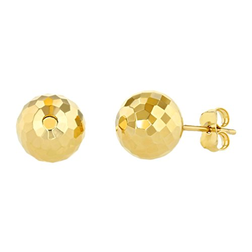 (14k Yellow Gold Hammered Ball Earrings Round Sphere Studs, 9.2mm)