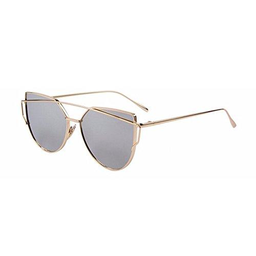 Fashion Women Cat Eye Sunglasses Classic Brand Designer Twin-Beams Sunglasses Coating Mirror Flat Panel - Oakey Sunglasses
