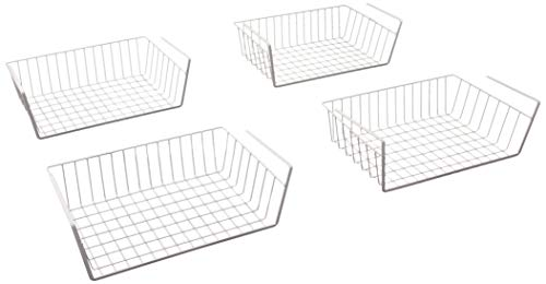(AALLEN BOTTEGA Under Shelf Basket White Wire Rack 2 + 2 Packs Ultimate Cabinet Designed For Keep Home Neat Multifunction Friendly Enlarger Storage Space For Kitchen Bedroom Bathroom Office Bookshelf)