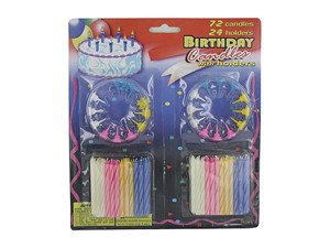 144 Packs of Large set birthday candles (72 candles, 24 holders) by bulk buys
