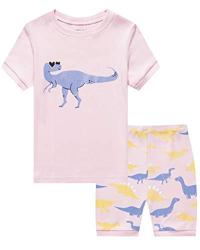Dinosaur Short Pajamas - Little Girls 2 Piece Short Pajamas Dinosaur 100% Cotton Toddler Pjs Summer Kids Clothes 6t