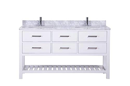 60 inch Traditional Freestanding White Double Bathroom Vanity | Italian Carrara Marble Countertop | His and Her Sinks Double Vanity | Modern Farmhouse Style (Doubles Sink Vanity)
