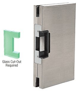 CRL Brushed Stainless 6'' x 10'' RH/LHR Custom Center Lock Glass Keeper With Deadlatch Electric Strike by CR Laurence