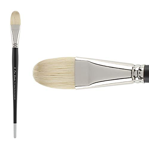 Creative Mark Pro Stroke Premium Artist White ChungKing Hog Bristle Paint Brush - Filbert 14 by Creative Mark