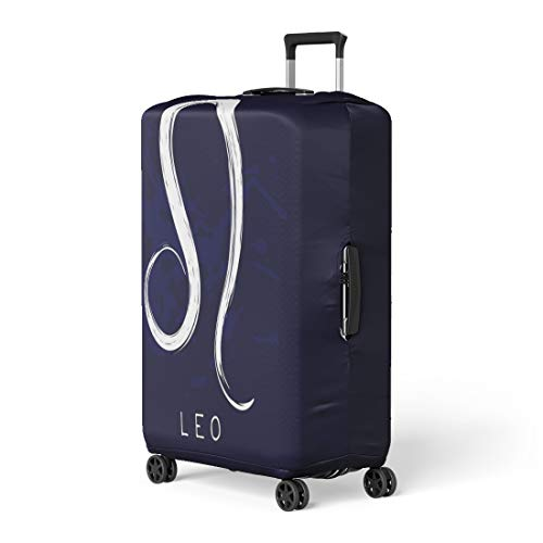 Pinbeam Luggage Cover Artistic Zodiac Sign Leo Blue for Flyers Astrology Travel Suitcase Cover Protector Baggage Case Fits 22-24 inches