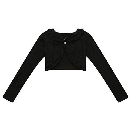 Richie House Girl's Short Style Cape Cardigan Sweater - Black Short Style