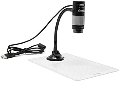 Plugable USB 2.0 Digital Microscope with Flexible Arm Observation Stand for Windows, Mac, Linux (2 MP, 250x Magnification). (Renewed)