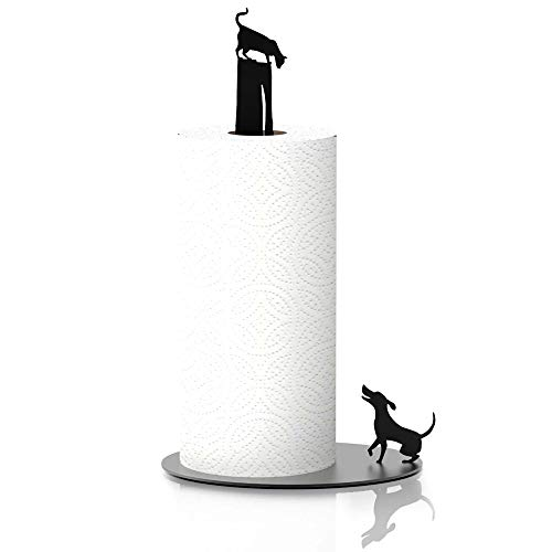 Kitchen Decor Dog Vs. Cat - Black Metal Paper Towel Dispenser & Countertop Kitchen Paper Towel Holder - Cat Lover Gifts For Women, Funny Cat
