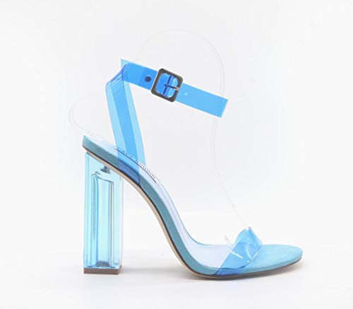 - Cape Robbin Maria-2 Women's Lucite Clear Strappy Block Chunky High Heel Open Peep Toe Sandal, Transparent, Blue, 10