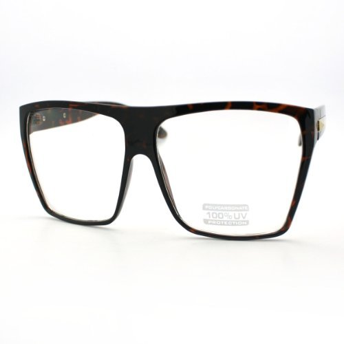 Tortoise Super Oversized Eyeglasses Flat Top Square Clear Lens Glasses - Oversized For Glasses Men