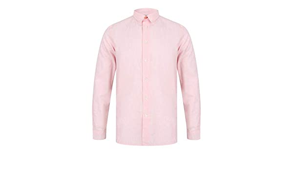 Paul Smith - Camisa de manga larga con mezcla de lino en color frambuesa - Rosa - Large: Amazon.es: Ropa y accesorios