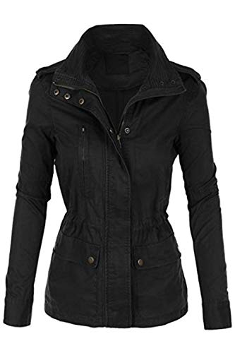 (FASHION BOOMY Womens Zip Up Military Anorak Jacket W/Hood (Medium, L-Black))