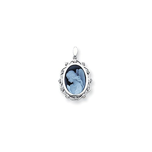 14k White Gold Diamond 12x16mm Guardian Angel Agate Cameo Pendant, 14 kt White Gold