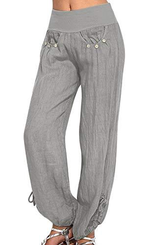 (papasgix Women's Plain Elastic Waist Boho Harem Yoga Pants Casual Pants with Side Pockets(Grey #1,Tag S/US 6-8))