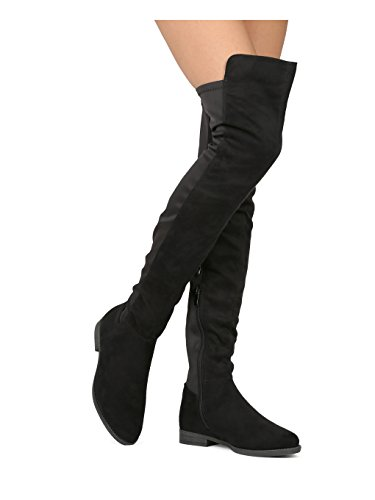 Media HE80 Collection Black Mix Boot Versatile Liliana Dual Stretch Over Riding Knee Material Casual Everyday Dressy The Women Thigh High By xT6RUqwnTC