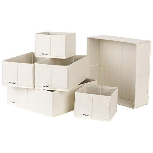 Homfa Closet Drawer Organizer Foldable Fabric Cloth Storage Cubes Basket for Underwear, Bras, Socks, 6 Pack Beige