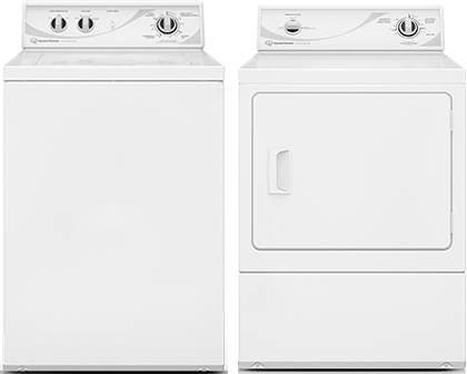 "Speed Queen White Top Load Laundry set with AWN432SP 26"" Top Load Washer with 3.3 cu. ft. Capacity and ADG3SRGS 27"" Gas Dryer with 7.0 cu. ft. Capacity, in White"