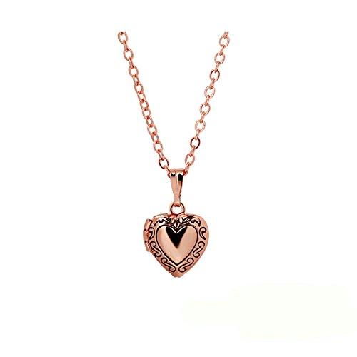 Adisaer Locket Necklace for Womens Vintage Pattern Heart Locket Necklaces Photo Rose Gold Valentine Gift