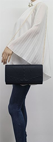 PU Stich Star Michelle Party Womens Ladies SWANKYSWANS Bag Prom Navy Blue Leather Clutch waOqgE