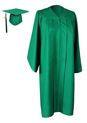 Cap Green Cloth (GraduationForYou Matte Graduation Gown Cap Tassel 2018, Emerald Green, 42inFF/4'9-4'11)