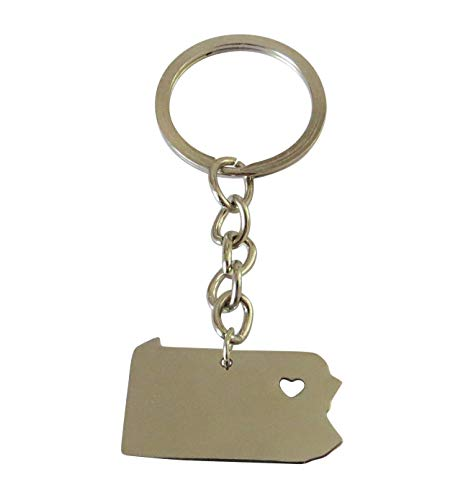 Home State Key Chains - Metal State Outline Key Rings with A Heart Stamp, Display Your Home or Favorite States. Perfect Gift for All Occasions. (Pennsylvania)