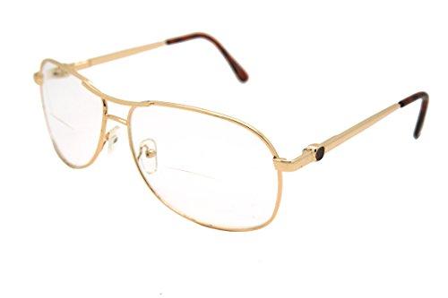 ColorViper Vintage Classic Aviator Metal Reading Glasses (Gold / Clear Bi-focus reading glasses RJ8028CBF, +3.50)