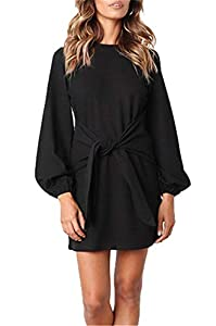 onlypuff Puff Sleeve Dresses for Women Belted Tie Front Pencil Tunic Dress Casual Round Neck Solid Color