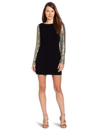 Parker Women's Sequin Sleeve Shift Dress, Black, X-Small