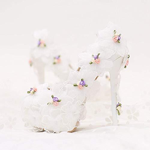 Fleurs Décolleté Talons 5 Hauts Cachés Talons Avec Et couleur Fuxitoggo Uk 3 Plateforme Mariage Blanc Aiguilles Taille RnqPww4