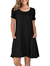 Women's Summer Casual T Shirt Dresses Short Sleeve Swing Dress Pockets