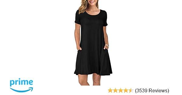 4d169b86003b1 KORSIS Women's Summer Casual T Shirt Dresses Short Sleeve Swing ...