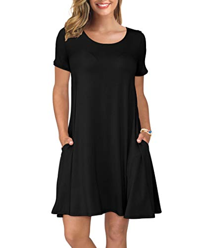 (KORSIS Women's Summer Casual T Shirt Dresses Short Sleeve Swing Dress with Pockets Black M )