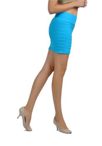 Soho Apparel Girls Seamless Sexy Horizontal Pintucked Mini Skirt SG-D16-Turquoise Nylon Spandex