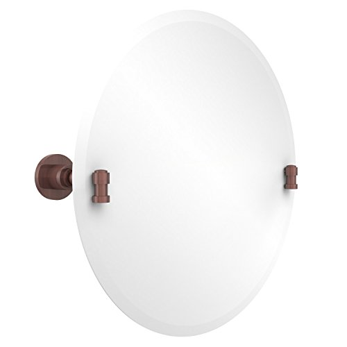 Allied Brass WS-90-CA Frameless Round Tilt Mirror with Beveled Edge, Antique Copper
