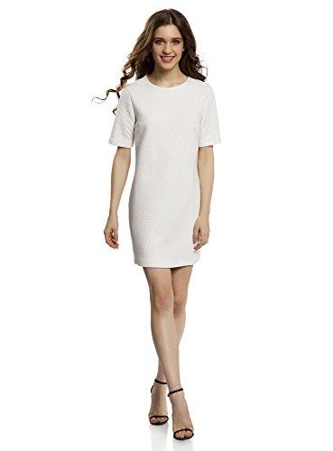 oodji Collection Mujer Vestido Recto de Tejido Texturizado Blanco (1200N)