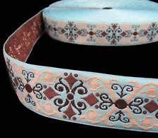 2 Yds Blue Beige Brown Ornate Scroll Woven Belt Jacquard Ribbon 1 1/2
