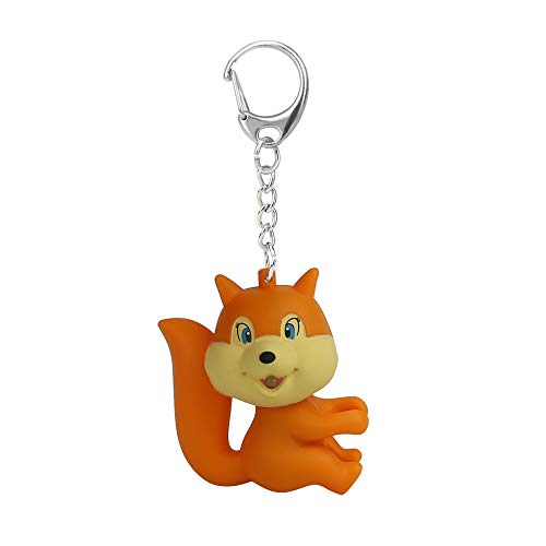 Cute Cartoon Squirrel Keychain with LED Light Sound Keyfob Kids Toy Gift ()