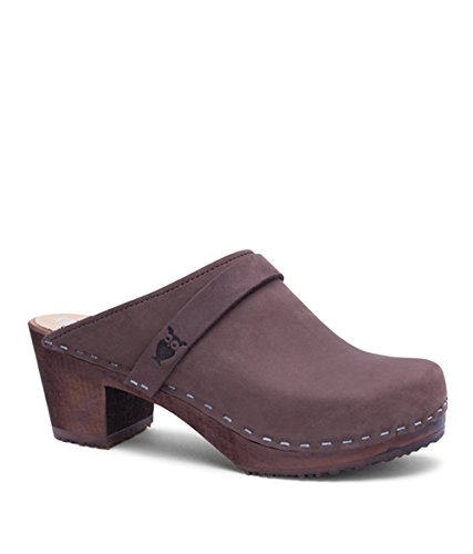 Sandgrens Swedish High Heel Wooden Clog Mules for Women | Dublin Fudge DK, EU 40